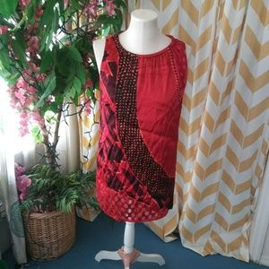 Cabi size M Red Abstract Silk Sleeveless dress